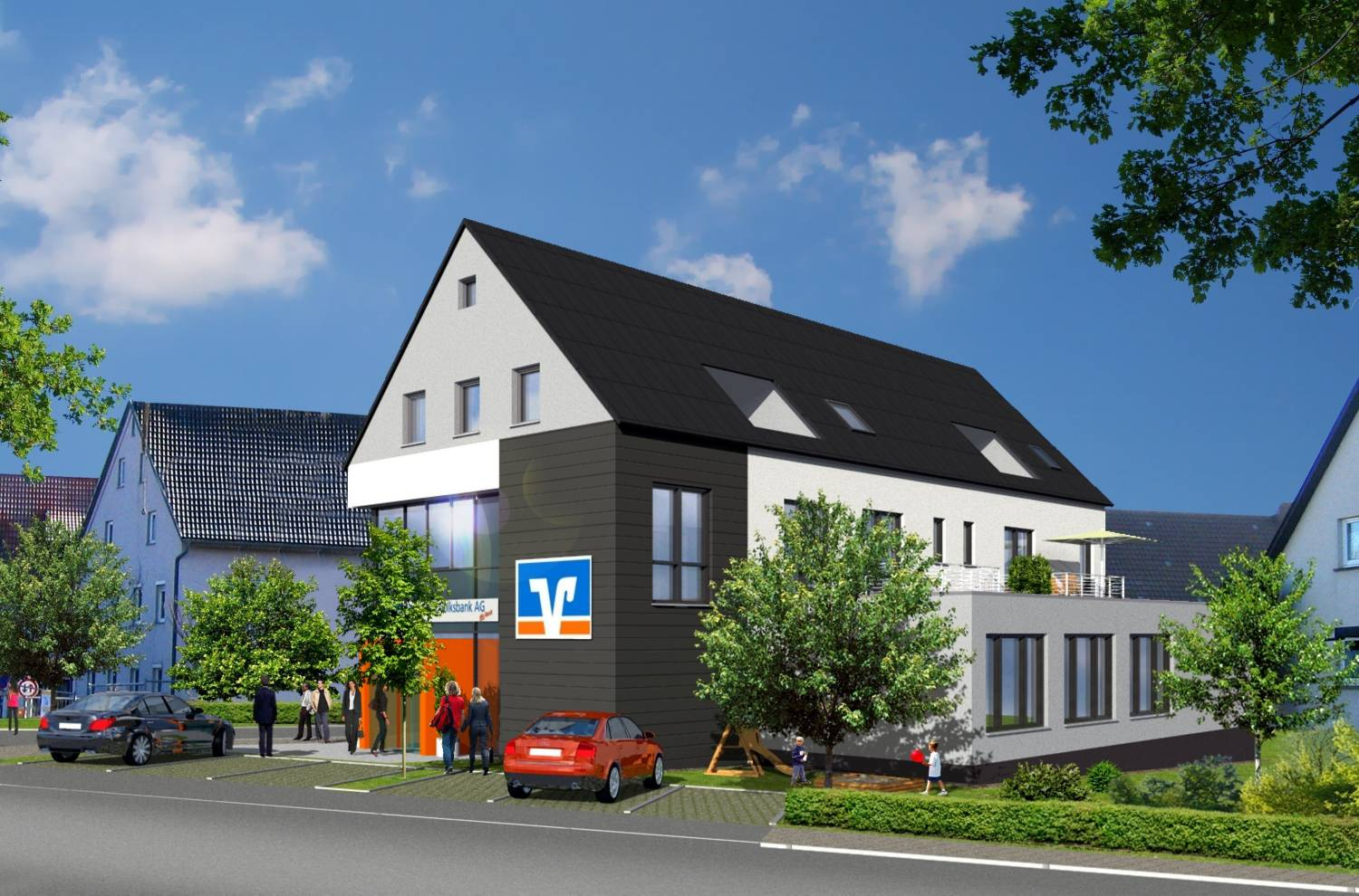 3D Architektur Visualisierung Neubau Bank Filiale