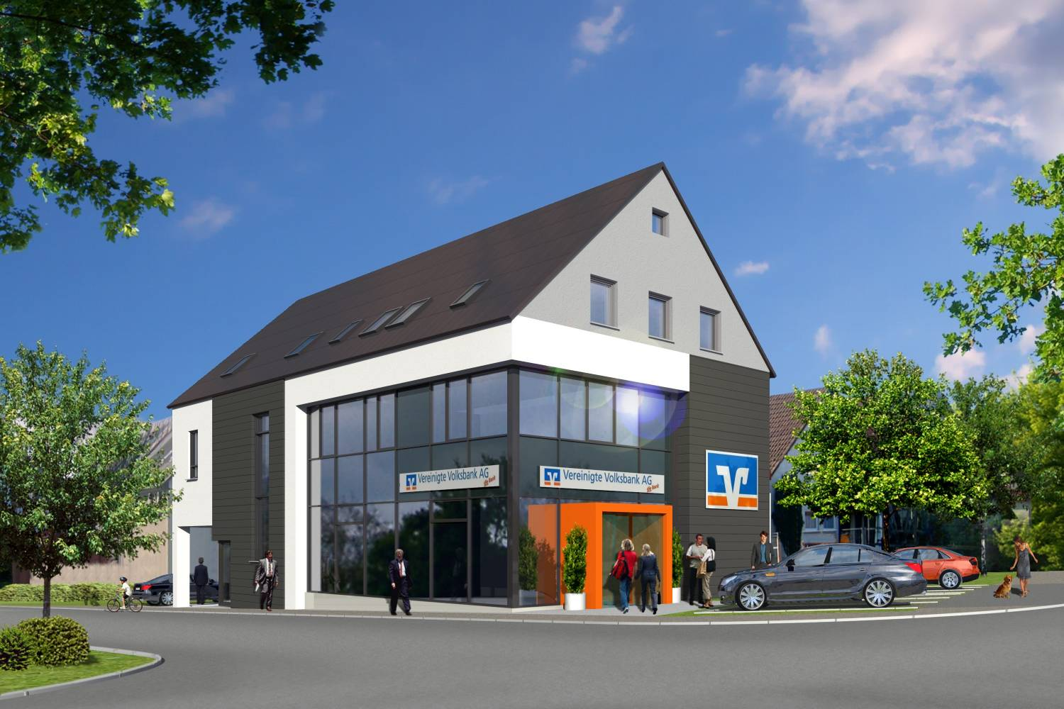Architektur Visualisierung Bankfiliale